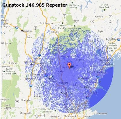 Gunstock 146.985 Repeater map
