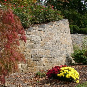 You can make both gentle and tight curves with mortarless segmental retaining wall systems.