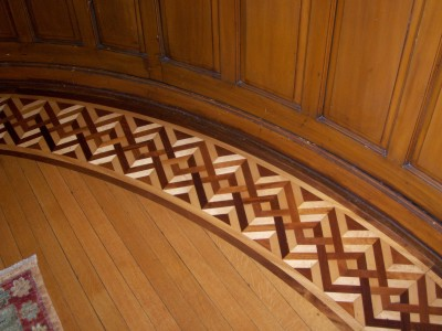 Hardwood floor inlay located in the The Wiedemann Hill Mansion. PHOTO CREDIT: Roger R Henthorn