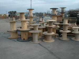 These cable reels make excellent pedestal bases for a table.