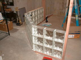 The glass block stack easily if the first course is plumb and level.