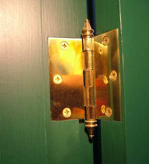 This door hinge is solid brass and is a traditional square-butt hinge. They are readily available, affordable and add a touch of class to any home. PHOTO CREDIT: Tim Carter