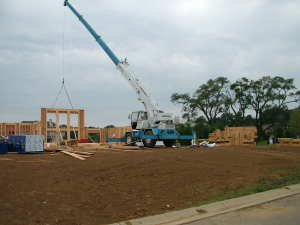 You often need a special construction loan to build a new home. PHOTO CREDIT: Tim Carter