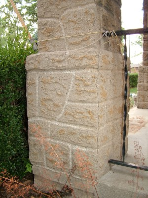 This pillar looks like stone, but it is stucco. The master craftsman who made it took the time to shape the stucco to make it look like rock with mortar joints. PHOTO CREDIT: Tim Carter