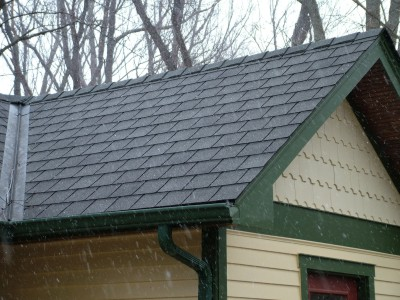 These asphalt roof shingles are made to look like slate.  PHOTO CREDIT: Tim Carter