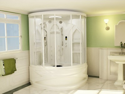 If you do not want to go to the trouble of building your own steam room, install a prefabricated one like this one in just hours.  PHOTO CREDIT: Wasauna, Inc.