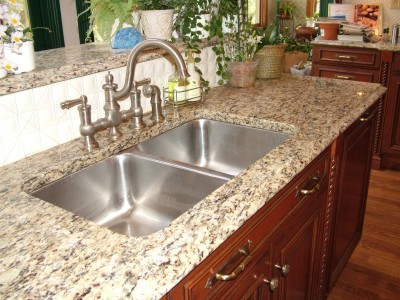 A granite top like this must be installed on kitchen cabinets that are level and sturdy.  PHOTO CREDIT: Tim Carter
