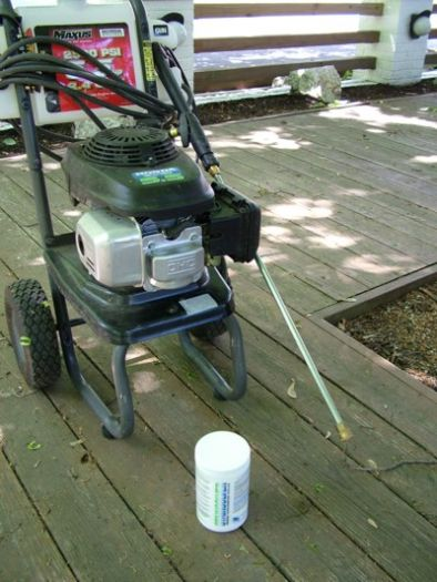 You have at least two choices when you decide to clean a wood deck. Here are two of them - a pressure washer and oxygen bleach.  IMAGE CREDIT: Tim Carter