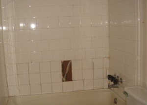 This ceramic-tile shower is on life support. It needs a complete overhaul to prevent long-term structural damage to the house. PHOTO CREDIT: Diana Cordero