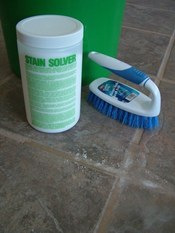 Stain Solver oxygen bleach is a fantastic product to use when cleaning a tile floor. PHOTO CREDIT:  Tim Carter