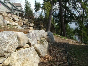 These rock retaining walls will last for generations because they were installed correctly. PHOTO CREDIT: Tim Carter