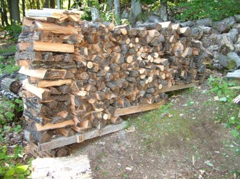 A firewood rack may not be necessary if you creatively stack your split firewood.  How NOT to stack firewood is shown in the upper right corner. Previous homeowner just scattered cut links on the ground. PHOTO CREDIT:  Tim Carter