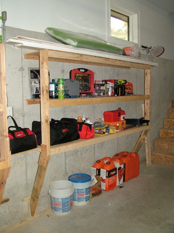 These heavy-duty storage shelves were made in several hours with a few sheets of plywood and some 2x4s. PHOTO CREDIT:  Tim Carter