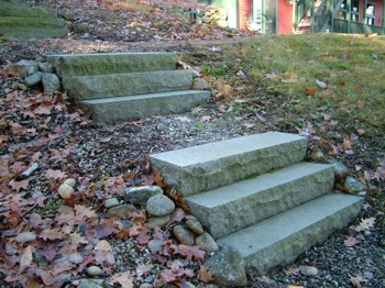 These custom stairs are made from individual pieces of granite. You can make stairs out of many materials. PHOTO CREDIT:  Tim Carter