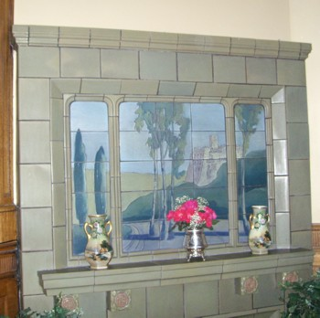 An example of a Rookwood Fireplace mantle and surround in the Wiedemann Hill Mansion. PHOTO: Roger R Henthorn