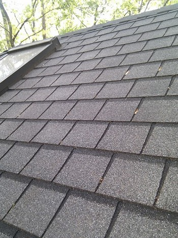 These are asphalt shingles made to look like slate. With a steep roof slope, they can easily last decades. PHOTO CREDIT: Tim Carter