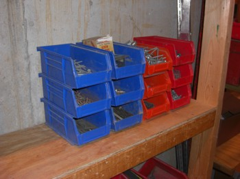 These workshop storage bins are perfect for screws, nails, small parts, etc. PHOTO CREDIT:  Tim Carter
