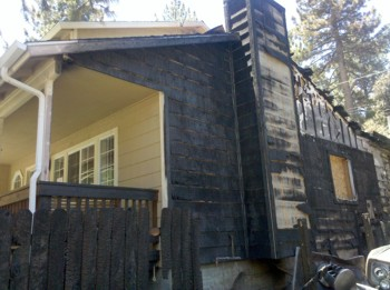 This home was saved from the valiant efforts of the firemen and internal fire sprinklers. PHOTO CREDIT:  Veronica Hill