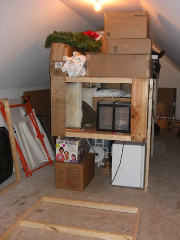 These strong wood shelves were built in less than an hour for less than $65.00 (2010 prices). PHOTO CREDIT:  Tim Carter