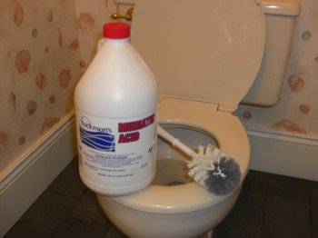 The normal toilet bowl cleaners you get at the grocery often don't have the power to really clean a toilet. You may need to use muriatic acid. PHOTO CREDIT:  Tim Carter