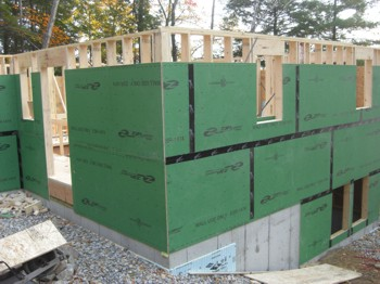 This house under construction is using a newer sheathing that's designed to repel water. PHOTO CREDIT:  Tim Carter