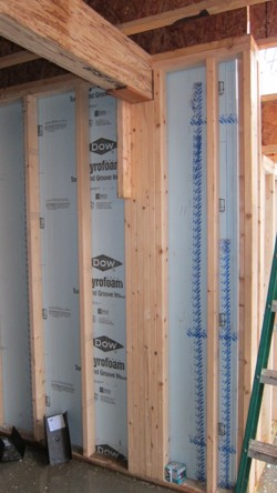 The Rigid Foam Insulation Is Placed Between Stud Wall And Foundation