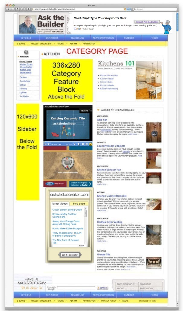 sample ad locations ask the builder
