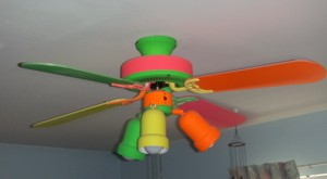 A smaller ceiling fan for a kid's bedroom. PHOTO CREDIT: Roger Henthorn