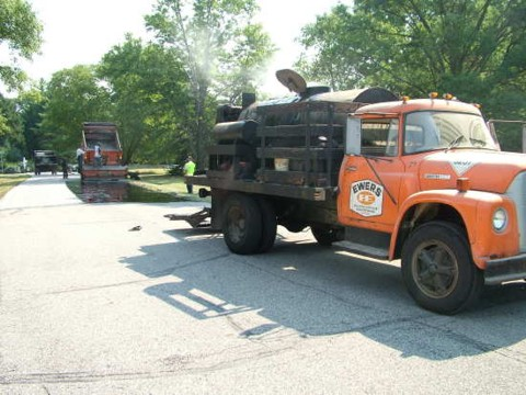 This is the special truck filled with the hot tar. PHOTO CREDIT: Tim Carter