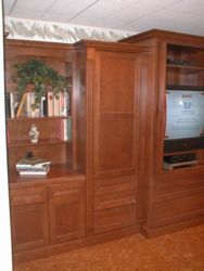 A close-up view of the left side of my center that was made by putting together standard factory cabinets and trim!