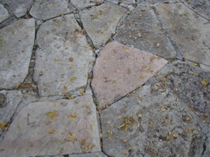 This stone patio has failed mortar joints. The repair is not complicated, but does require working on your hands and knees. PHOTO CREDIT:  Albert Jacob