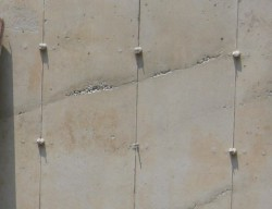 Close-up of concrete cold seam. PHOTO CREDIT: Liang Feng