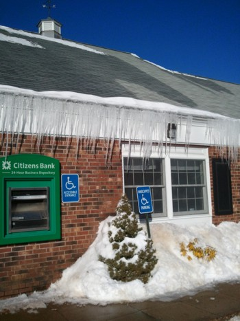 Another example of icicles hanging from gutters. PHOTO CREDIT: Tim Carter