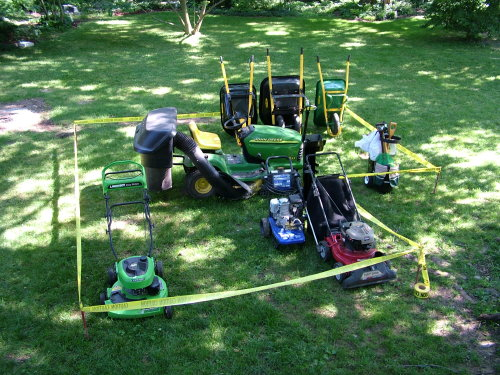 This is the first step in building a shed that will work. You take much of the stuff you are going to store and place it on your lawn. Then draw an outline around the equipment to get some rough dimensions. PHOTO BY: Tim Carter
