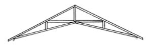 This scissors truss provides support , while providing a vaulted interior.
